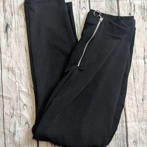Boohoo curve front zip black leggings